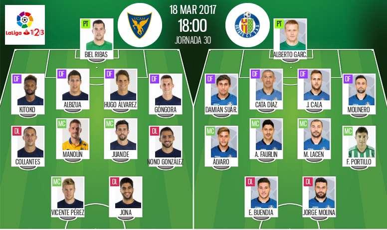 Alineaciones oficiales del UCAM-Getafe de la jornada 30 de Segunda División 16-17. BeSoccer