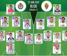 Alineaciones oficiales del Valladolid-Elche de la jornada 35 de Segunda División 2016-17.