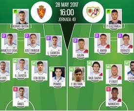 Alineaciones del Zaragoza-Rayo Vallecano de la jornada 40 de Segunda División 16-17. BeSoc