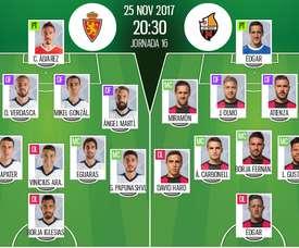 Alineaciones oficiales del Zaragoza-Reus de Segunda Division 17-18. BeSoccer