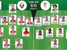 Les compos officielles du match de Liga entre Osasuna et Grenade. BeSoccer