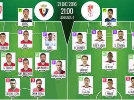 Alineaciones Osasuna-Granada de la vuelta de los dieciseisavos de la Copa del Rey 16-17. BeSoccer