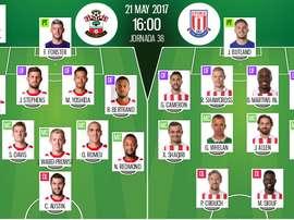 Alineaciones titulares del Southampton-Stoke de la jornada 38 de la Premier 2016-17. BeSoccer