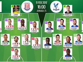 Alineaciones titulares del Stoke City-Crystal Palace de la jornada 25 de la Premier League 2016-17.