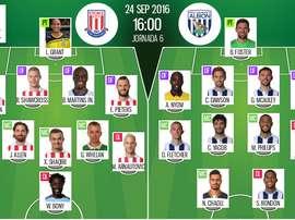 Alineaicones de Stoke City y West Brom en Premier League 16-17 Jornada 6. BeSoccer