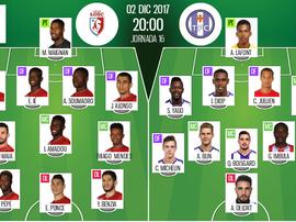 As escalações de Lille e Toulouse para esta partida da Ligue 1. BeSoccer