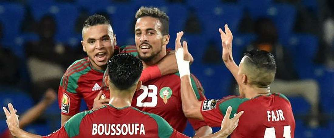Alioui celebra el gol anotado ante Costa de Marfil. AFP