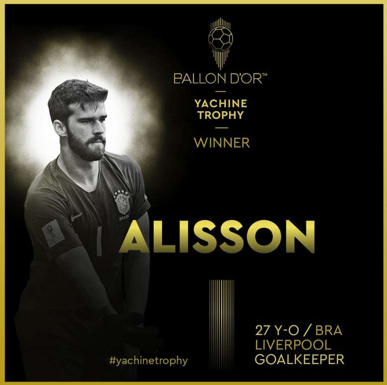 Alisson Becker crowned 2019 goalkeeper of the year! Twitter/francefootball