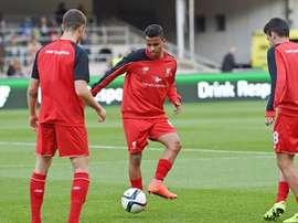 Allan Rodrigues de Souza, en un entrenamiento con el Liverpool. Twitter