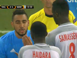 Haidara was issued a second yellow after clashing with Payet. Screenshot