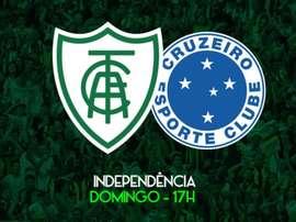 América-MG e Cruzeiro se enfrentam Campeonato Mineiro. Twitter @AmericaMG