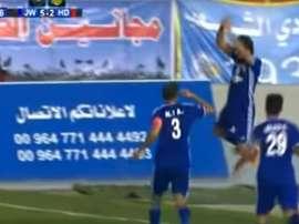 Amjad Radhi y Hammdi Ahmed, celebrando un gol a lo Cristiano Ronaldo. Youtube