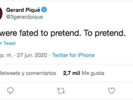 Piqué posted an enigmatic tweet. Twitter/3gerardpique