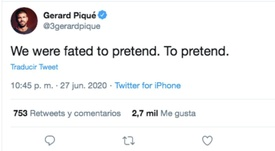 Piqué posted an enigmatic tweet. Twitter/3gerardpique