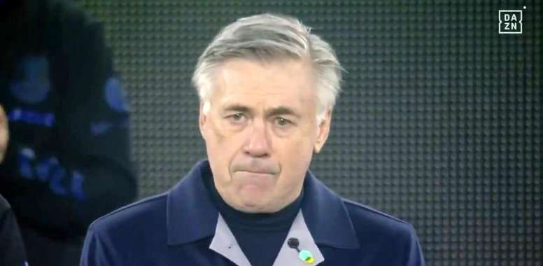 Ancelotti não conseguiu segurar a emoção. Captura/DAZN