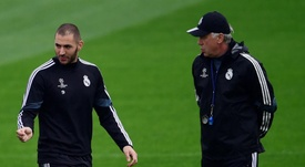Ancelotti and Benzema have worked together in the past. AFP