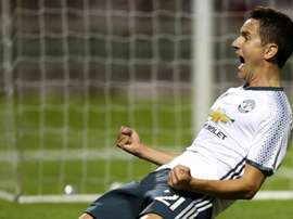 Ander Herrera celebrates scoring Man Utd's winning goal. ManUtd