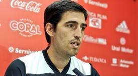 Iraola, contento con la victoria. Twitter/CDMirandes
