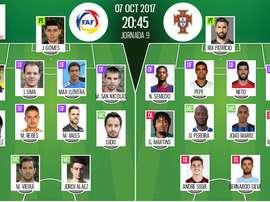 Os 11's de Andorra e Portugal, respetivamente, para este jogo. BeSoccer