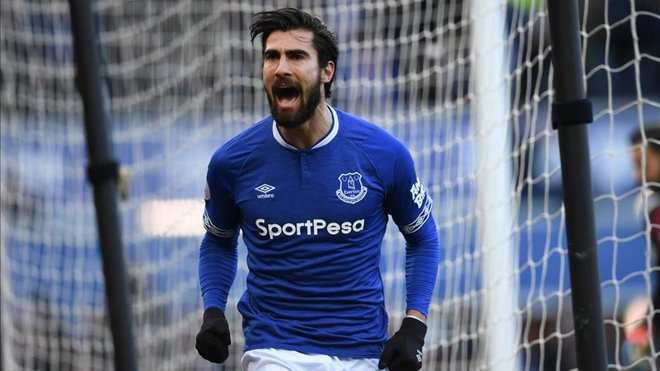 André Gomes, meio-campista português do Everton e ex-do Barcelona. AFP