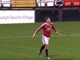 Andreas Pereira, celebrando su gol olímpico. Mutv