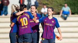 El Barça se salvó con un doblete de Torrejón. Twitter/FCBarcelonaFemení