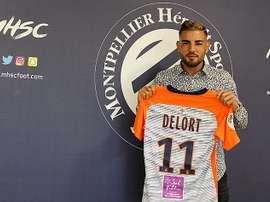 Delort llega cedido del Toulouse. Twitter/MontpellierHSC