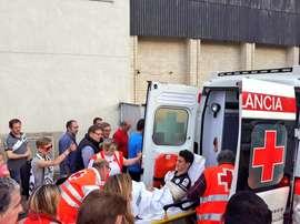 Anselmo Martín se marchó con una fractura de clavícula. Twitter/UnionistasCF