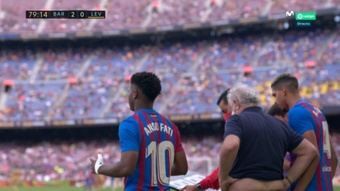 Ansu Fati volvió a jugar con el Barcelona.  Captura/MovistarLaLiga