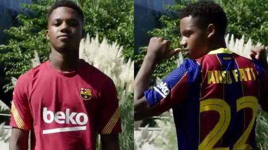 Ansu Fati já é da equipe principal do Barça. Captura/Twitter/FCBarcelona_es