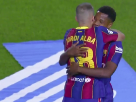 Fati scored two for Barcelona. Screenshot/MovistarLaLiga