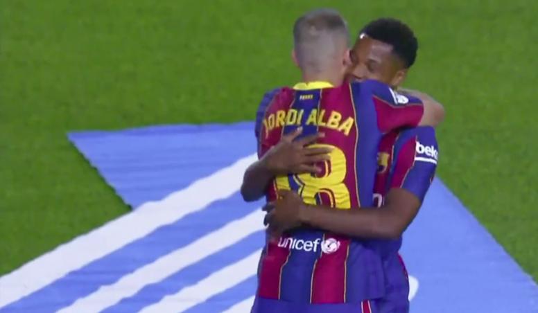 Fati scored two for Barcelona. Screenshot/MovistarLaLiga