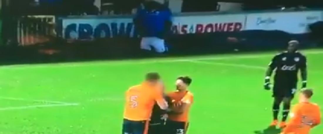 Gerrard stepped in to intercept the fan. Screenshot