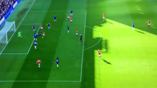 Martial reacted first to rattle home the loose ball. Screenshot