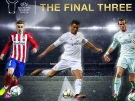 Griezmann, Ronaldo y Bale, finalistes pour le Meilleure Joueur d'Europe de 2015-16. UEFA