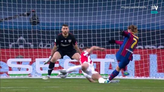 Antoine Griezmann put Barca ahead in the Spanish Super Cup final. Screenshot/Vamos