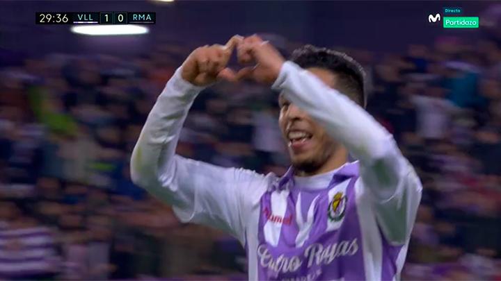 El Valladolid logró el gol a la cuarta. Captura/MovistarPartidazo