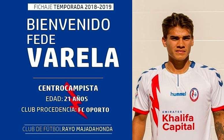Varela llega en calidad de cedido. Twitter/RMajadahonda