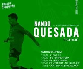 Quesada jugará cedido en el Atlético Sanluqueño. Twitter/AtcoSanluqueño