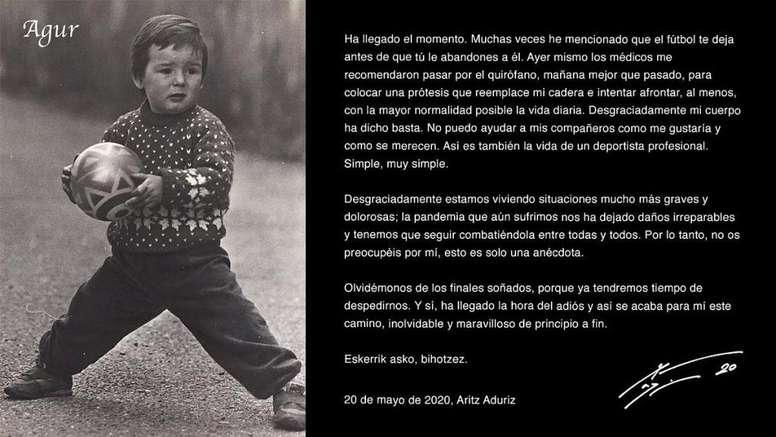 Aduriz prend sa retraite. Twitter/AritzAduriz11