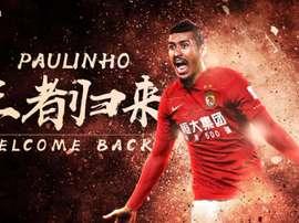 Paulinho voltou a China para jogar no Guangzhou Evergrande. Guangzhou