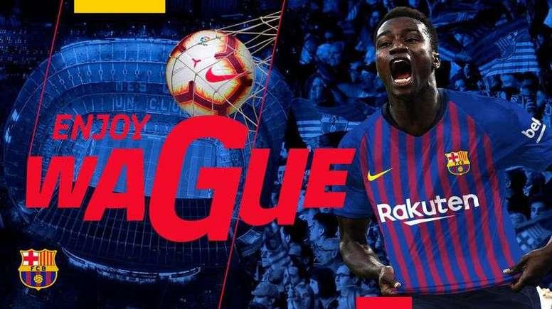 Wagué ya es jugador del Barça. Twitter/FcbarcelonaB