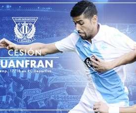 Juanfran est un joueur de Leganés. Twitter/CDLeganés