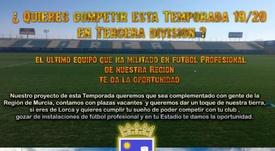 El Lorca busca jugadores sin coste. LorcaFCSAD