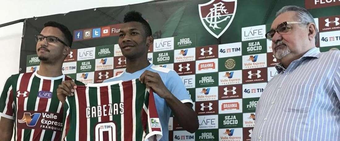 Apresentação de Bryan Cabezas no Fluminense. Twitter @FluminenseFC