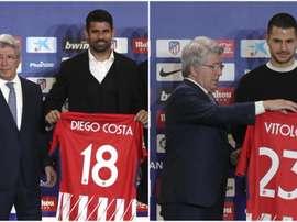 Diego Costa e Vitolo, os novos jogadores do Atlético de Madrid. EFE