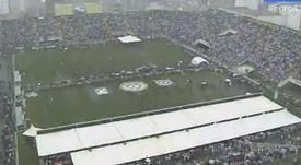 Arena Condá, estádio da Chapecoense, cheio no velório coletivo dos jugadores. Youtube