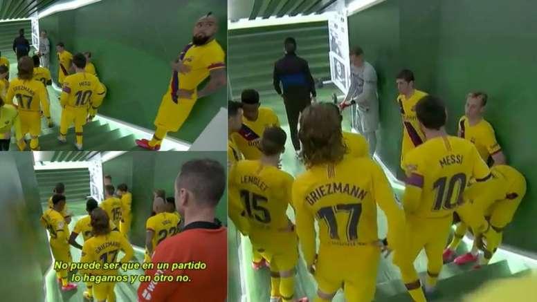 Messi deu um bronca em seus companheiros no intervalo. Captura/ESPN