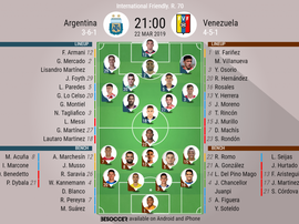 Argentina V Venezeula, International Friendly, Official Line-ups. BESOCCER