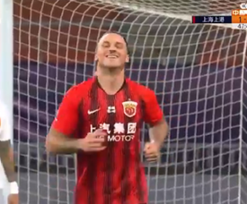 Arnautovic y Ricardo Lopes, goleadores en China. Captura/CCTV.